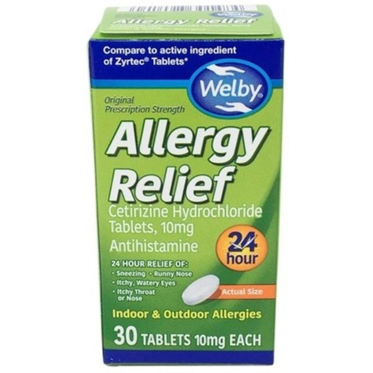 Allergy Relief, Cetirizine Hydrochloride Tables, 10 mg