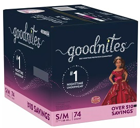 Bedtime Bedwetting Underwear for Girls, Size S/M