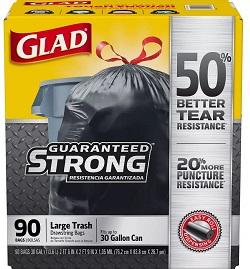 30-gal. Black Drawstring Plastic Trash Bags